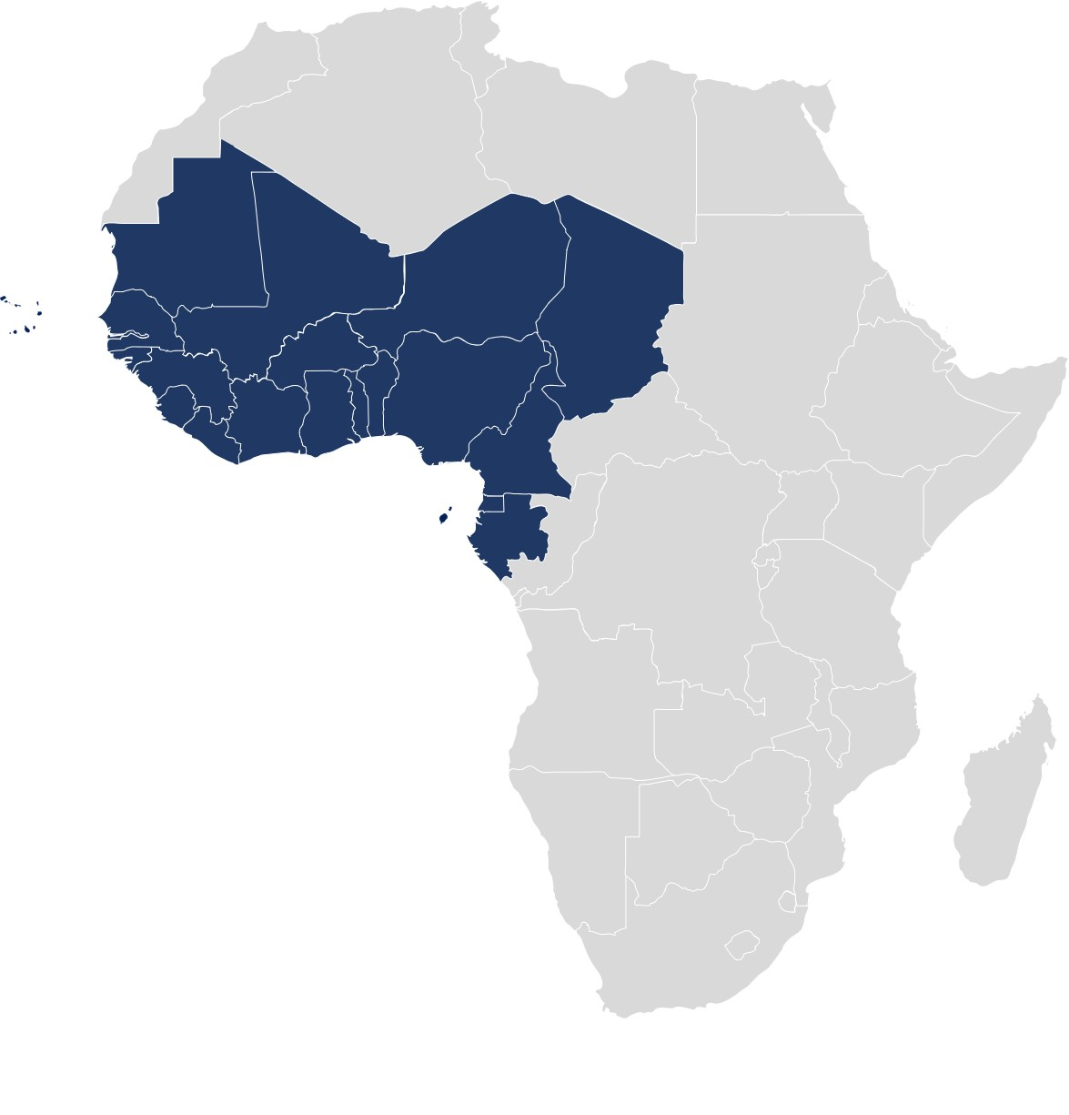 map of Africa with West Africa countries highlighted